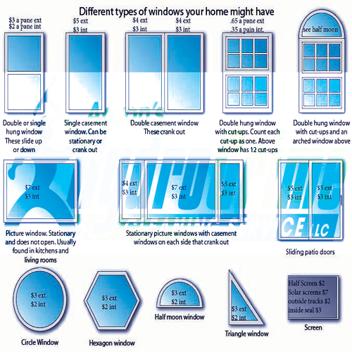 Window Cleaning Price Sheet